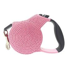 Crystal Retractable Leash - Light Pink
