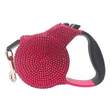 Crystal Retractable Leash - Dark Pink