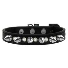 Crystals and Silver Spikes Dog Collar - Black