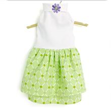 Daisy and Lucy Green Print Double Flannel Skirt White Top Dog Dress
