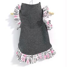 Daisy and Lucy Gray Body with Pink Owl Ruffle Trim Dog Dress