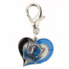 Dallas Mavericks Swirl Heart Dog Collar Charm
