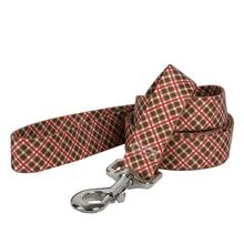 Diagonal Plaid Dog Leash by Yellow Dog - Brown and Red