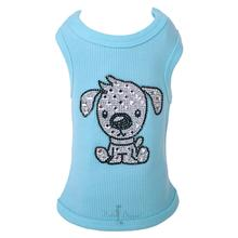 Doggie Rhinestone Dog Tank - Blue