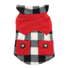 Doggy Wrappers Double Fleece Dog Coat - White, Black and Red Buffalo Plaid