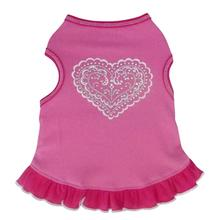 Doily Heart Tank Dog Dress - Pink