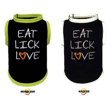 Eat Lick Love Reflective Dog T-Shirt by Ultra Paws - Lime Trim