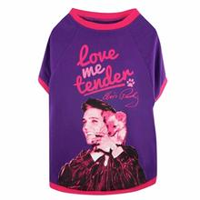 Elvis Love Me Tender Dog T-Shirt - Purple