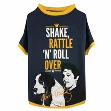 Elvis Shake Rattle and Roll Dog T-Shirt - Gray