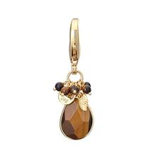 Faceted Stone Dog Collar Charm - Tiger Eye