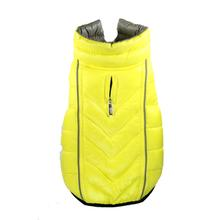 Featherlite Reversible-Reflective Puffer Dog Vest by Hip Doggie - Yellow/Gray