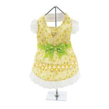 Floral and Lace Dog Dress - Yellow