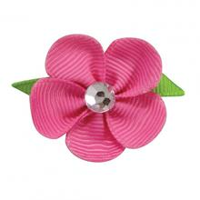 Flower Dog Bow with Alligator Clip - Hot Pink