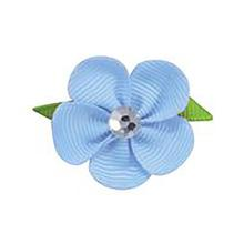 Flower Dog Bow with Alligator Clip - Light Blue