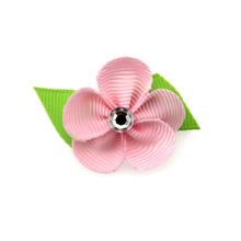 Flower Dog Bow with Alligator Clip - Pearl Pink