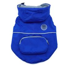 FouFouDog Rainy Day Dog Poncho with Built-in Travel Pouch - Blue