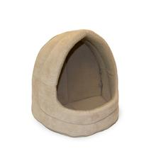 FurHaven Snuggle Terry & Suede Hood Pet Bed - Clay