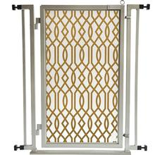 Fusion Gate Pet Gate - Gold Lattice - Satin Nickel Finish