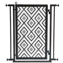 Fusion Gate - Pet Gate - Gray Diamonds - Black Finish