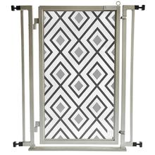 Fusion Gate Pet Gate - Gray Diamonds - Satin Nickel Finish