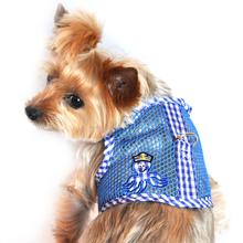 Gingham Octopus Mesh Dog Harness - Blue