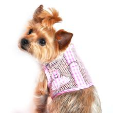 Gingham Octopus Mesh Dog Harness - Pink