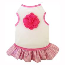 Gingham Ruffle Tank Dog Dress with Linen Flower Trim