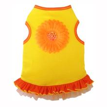 Sunshine Daisy Tank Dog Dress - Yellow Orange