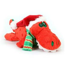GoDog Holiday Gators Santa Dog Toy - Red