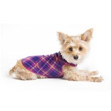 Gold Paw Fleece Dog Jacket - Mulberry Plaid