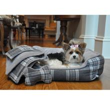 Gray Plaid Dog Bed with Bone and Blanket