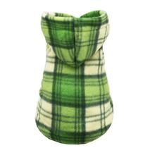 Green Plaid Polar Fleece Dog Hoodie by Hip Doggie