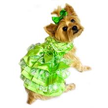 Green, White and Gold Organza Dog Dress by Doggie Design