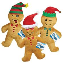 Grriggles Holiday Gingerbread Emoji Men Plush Dog Toys