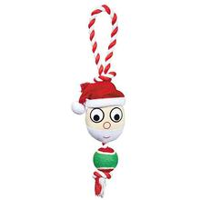 Grriggles Holiday Rope Tennis Tug Dog Toy - Santa