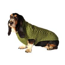 Handmade Cable Knit Wool Dog Sweater - Green