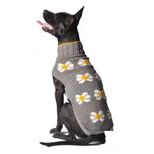 Handmade Daisy Wool Dog Sweater - Gray