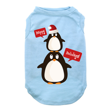 Happy Holidays Penguins Dog Tank - Light Blue