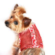 Hawaiian Hibiscus Mesh Dog Harness - Red
