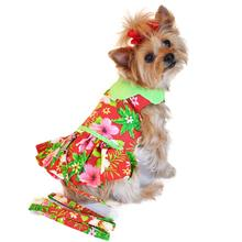 Red Hawaiian Hibiscus Designer Dog Harness Dress