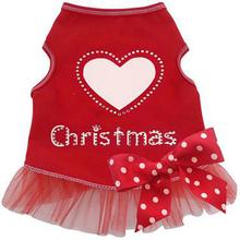 Heart Love Christmas Dog Dress - Red