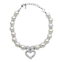 Heart and Pearl Dog Necklace - White