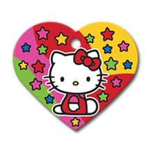 Hello Kitty Heart Large Engravable Pet I.D. Tag - Red with Stars