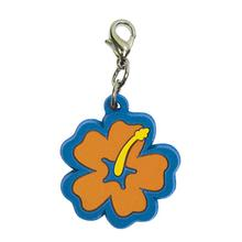 Hibiscus Soft Rubber Dog Collar Charm - Orange/Blue