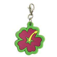 Hibiscus Soft Rubber Dog Collar Charm - Pink/Green