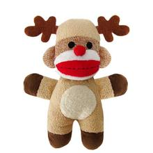Holiday Baby Reindeer Sock Monkey Dog Toy - Jingle