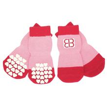 Home Comfort Traction Control Dog Socks - Pink & Red