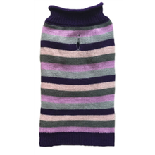 Huxley & Kent Rugby Striped Winter Dog Sweater - Purple