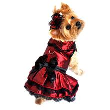 Iridescent Burgundy Satin Dog Dress with Headpiece
