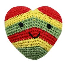 Knit Knacks Hempy the Rasta Heart Organic Dog Toy
